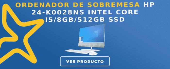 Ordenador de sobremesa HP 24-K0028NS intel Core I5/8GB/512GB SSD