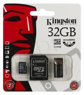 Memoria microSD Kingston 32GB + Adaptador SD + Lector de tarjeta